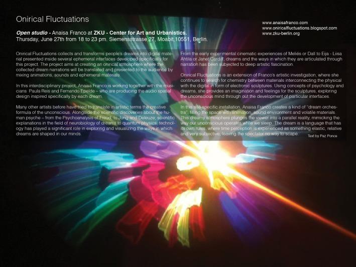 Presentation of Onirical Fluctuations. Open Studio Anaísa Franco / ZKU, Berlin