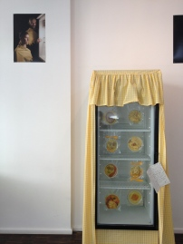 Installation dialog: FRIDGE Photo portrait by Verónica Losantos (left) / Two Yellow Bellies / Beth Dillon & Anton Benois, 2015 (right)
