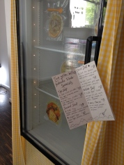 "Detail: Two Yellow Bellies / Beth Dillon & Anton Benois, 2015. ""The fridge is used as an archive, storing a selection of 7 meals from the Two Yellow Bellies project, vacuum-sealed in plastic"" During a 2-month winter residency at Listhus Art Space, Olafsfjordur, Iceland, Anton Benois and Beth Dillon undertook a period of self-administered sun replacement therapy. The artists dined exclusively on meals that fell within the yellow spectrum. They consumed the colours of sunshine as they were consumed by darkness. Each meal was documented a published on the project blog: twoyellowbellies.tumblr.com"