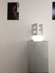 "Installation dialogue: FRIDGE Photo portrait by Verónica Losantos (wall) after Stephan Gross ""FEEL"" (Installation)"