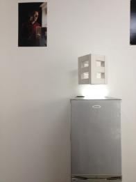"""FEEL"" / Stephan Gross, 2010 Kinetik Word sculpture. Disco Ball motor and Cellular concrete. 25 x 25 x 33 cmç"